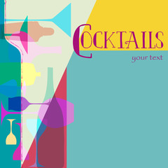 cocktail card design template, free copy space, retro style