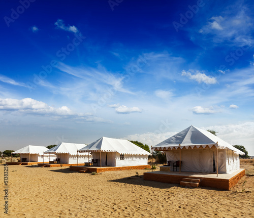 Tent camp in desert. Jaisalmer, Rajasthan, India.