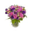 bouquet of pink and violet flowers isolated on white