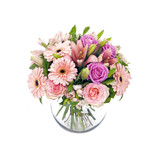 Fototapety bouquet of pink roses and gerberas isolated on white