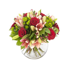 bouquet of red roses  and pink lilias isolated on white