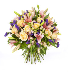 bouquet of lilias and roses isolated on white