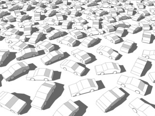 many white cars in a traffic jam