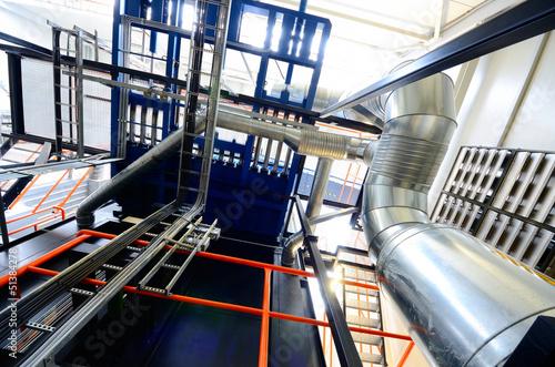 Deurstickers Large industrial boiler room