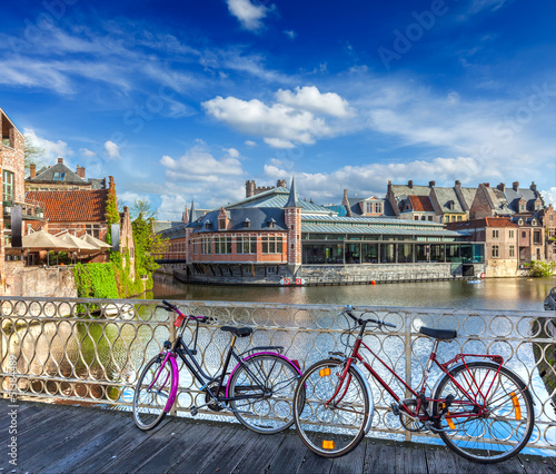 Bridge, bicycles and canal. Ghent, Belghium
