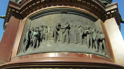 Bas-relief at monument to Emperor Nicholas I in Petersburg