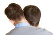 Zwei junge schwule Männer von hinten