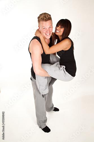 sporty couple having fun