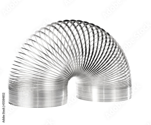 Metal slinky toy isolated
