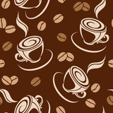 Seamless background with coffee beans and cups. Vector.