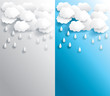 Rainy weather banner in various background