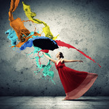 Ballet dancer in flying satin dress with umbrella - 51386046
