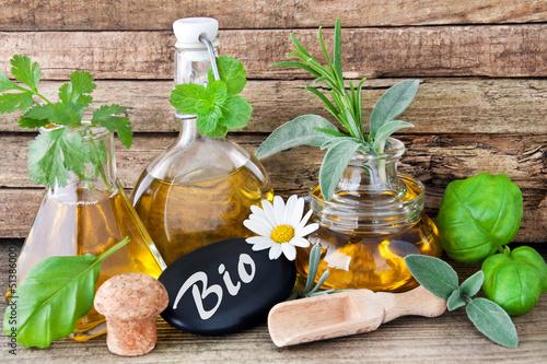 Papiers peints Condiment Bio-Kräuter und Öl