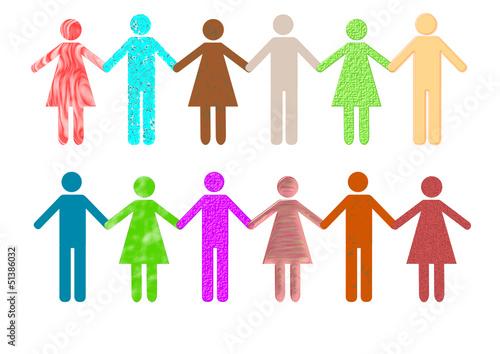 Integration Menschenkette Mann und Frau
