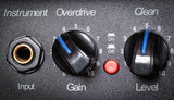 Retro guitar amplifier control panel. Shallow depth of field.