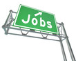 Jobs Word Green Freeway Sign Pointing New Career Employment