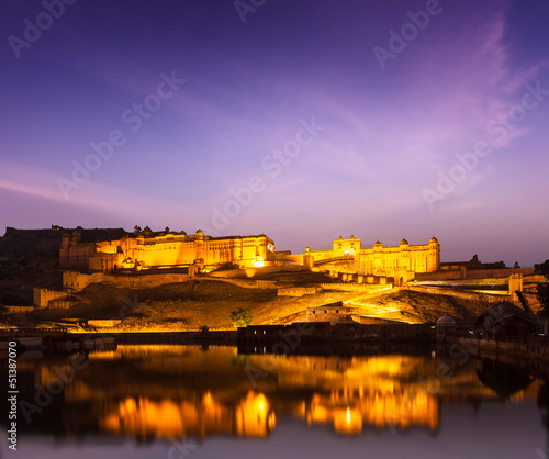 Amer Fort (Amber Fort) at night in twilight.  Jaipur, Rajastan,