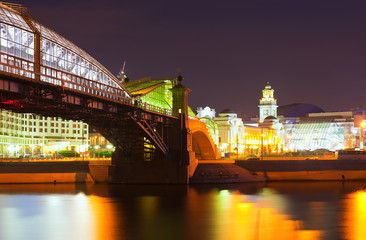 Bogdan Khmelnitsky Bridge in summer  night