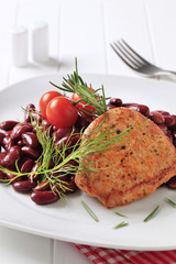 Marinated pork chop with red beans
