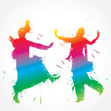 Colorful bhangra and gidda dancer stock vector