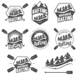 Set of vintage whitewater rafting labels and badges