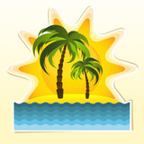 Island with two palms and sun