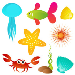 Set of sea animals
