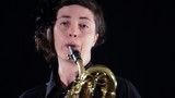 baritone saxophone player, close up