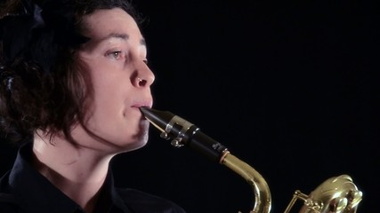 baritone sax player, close up