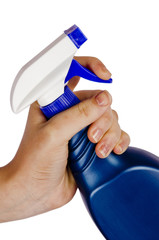 SPRAY BOTTLE IN HAND ISOLATED