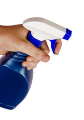 Cleaning bottle in woman hand