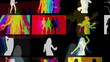 a video wall of screens made up from shadow disco dancers