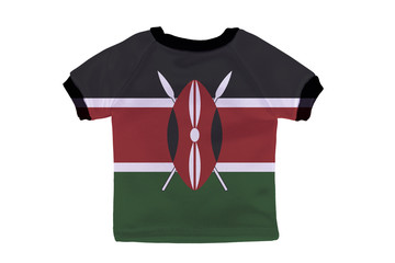 Small shirt with Kenya flag isolated on white background