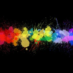 vector colorful ink spalshes on black background