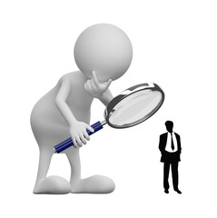 3D people with Magnifying Glass and businessman silhouette