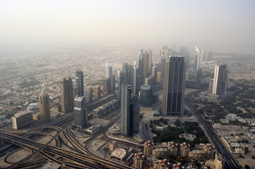 Dubai, UAE. Aerial view from the height of Burj Khalifa