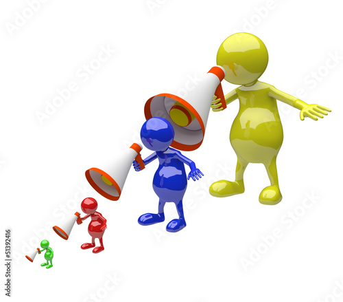 3D people with megaphone