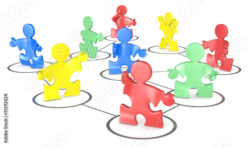 Network.Puzzle People in a social network. Multi Color.