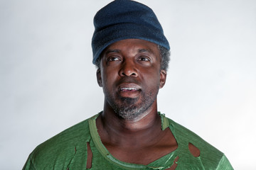 African American homeless man