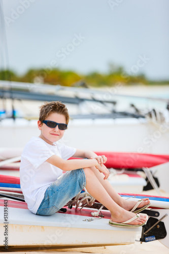 Cute boy on beach vacation