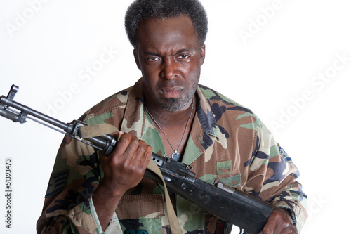 African American man with gun