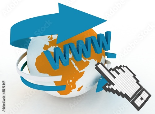 3d illustration of internet world wide web concept