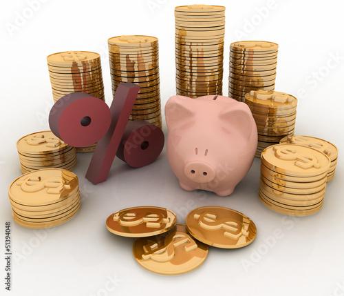 Piggy Bank, percent and money