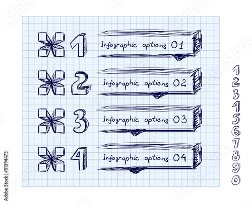 Doodle style number options banner.