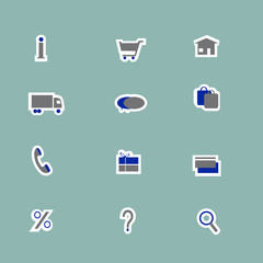 Online store icons collage