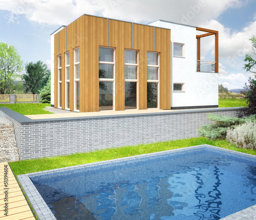 New modern house with a garden around and pool