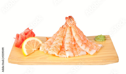 Sashimi with shrimp isolated on white