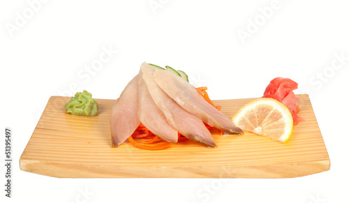 Sashimi with perch isolated on white