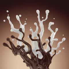 mix of liquid chocolate and milk splash