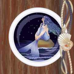 Beautiful night mermaid in porthole